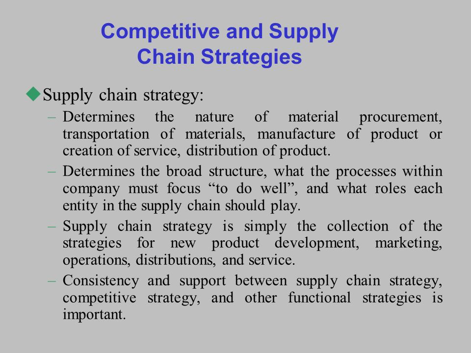 Supply Chain Performance Achieving Strategic Fit And