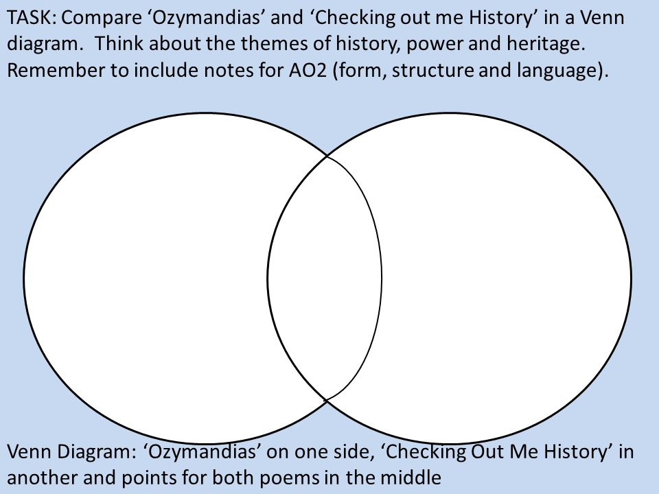 Ppt video online download task compare ozymandias and checking out me history in a venn ccuart Image collections