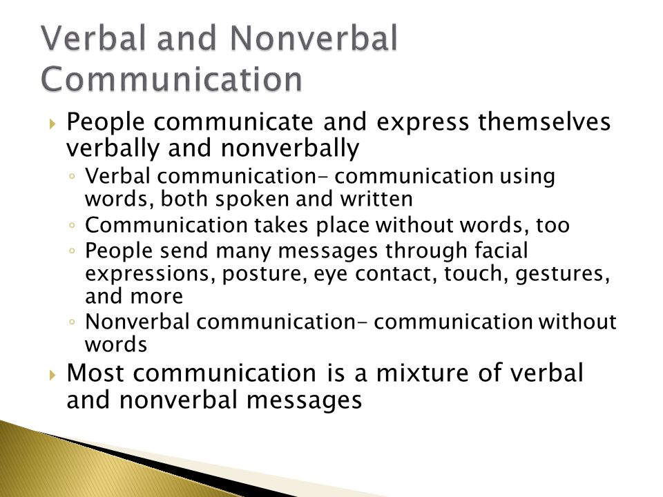 verbal and non verbal comunications Communication with others has both verbal and non-verbal aspects this article describes theory about the use of language in body psychotherapy, ways of the.