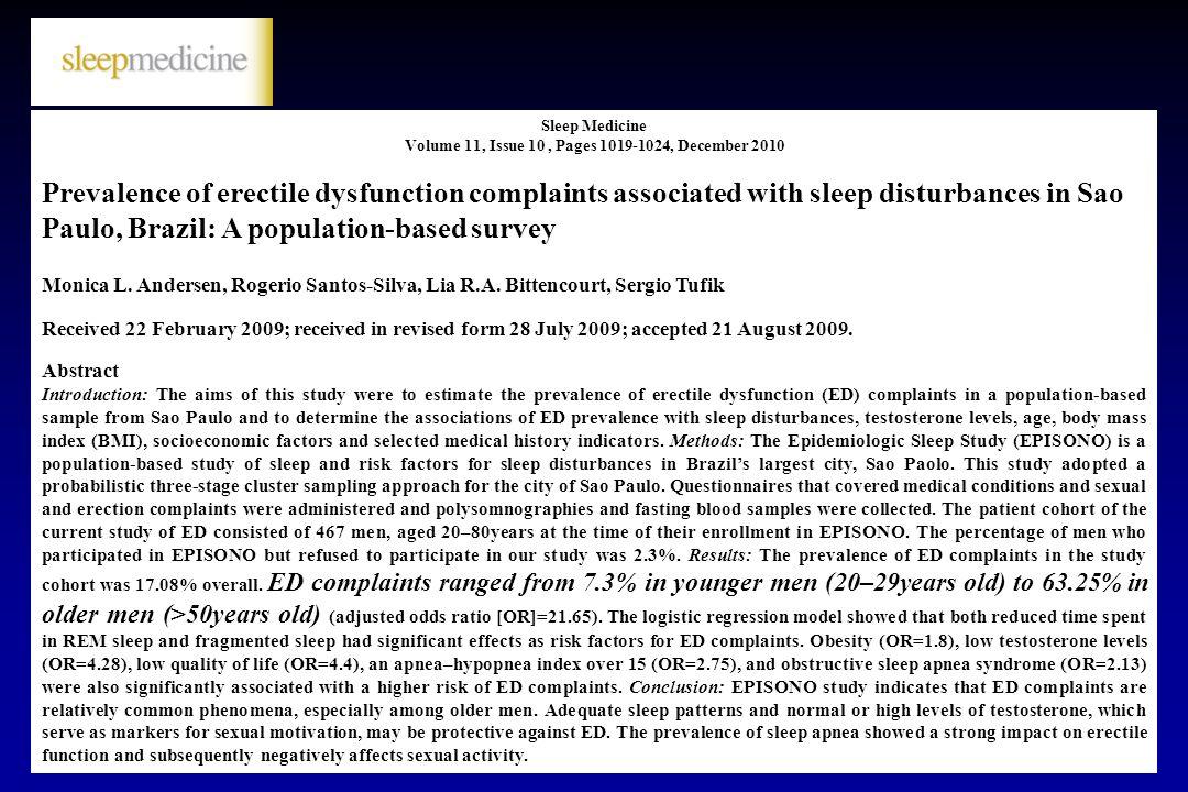 Sleep Medicine Volume 11, Issue 10 , Pages 1019-1024, December 2010