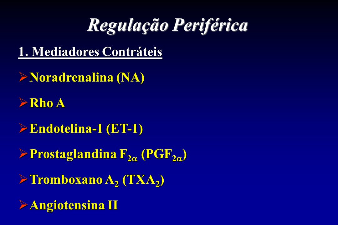 Regulação Periférica 1. Mediadores Contráteis Noradrenalina (NA) Rho A