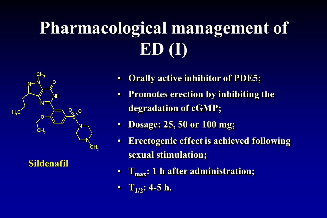 Pharmacological management of ED (I)