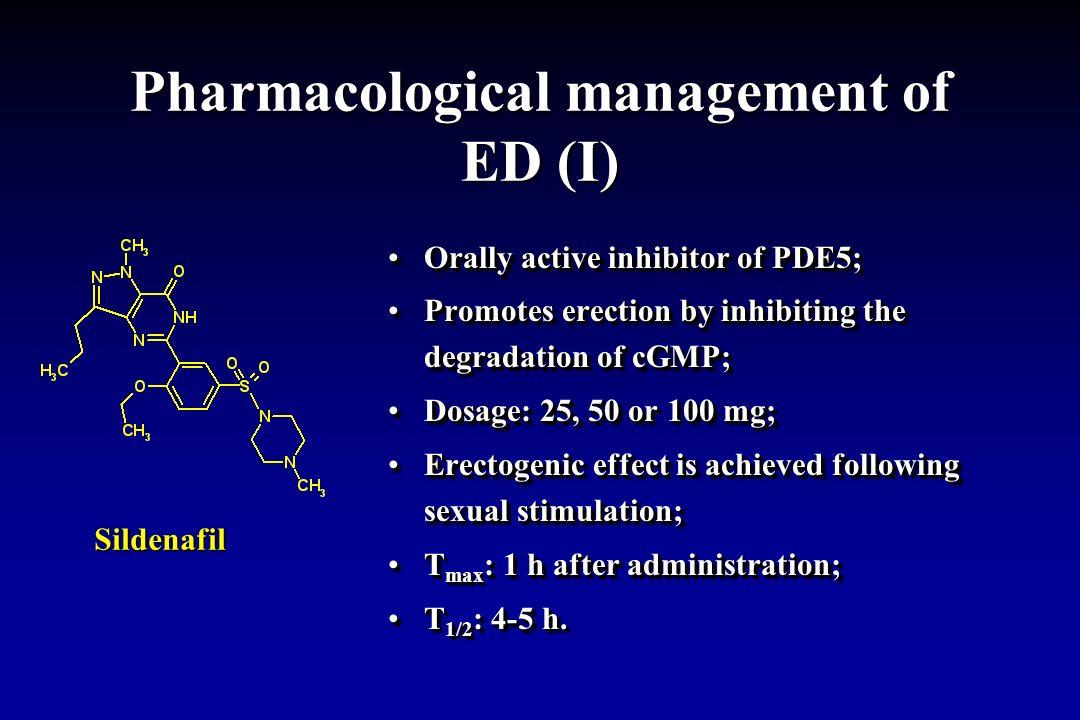 Pharmacological management of ED (I)