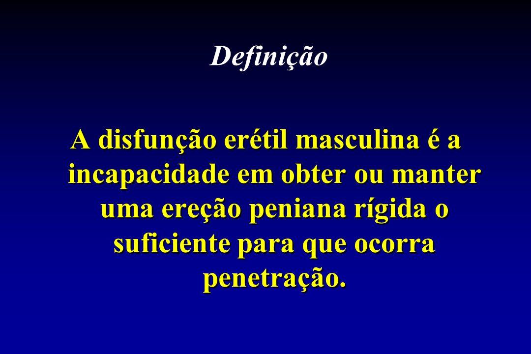 Definição A disfunção erétil masculina é a incapacidade em obter ou manter uma ereção peniana rígida o suficiente para que ocorra penetração.
