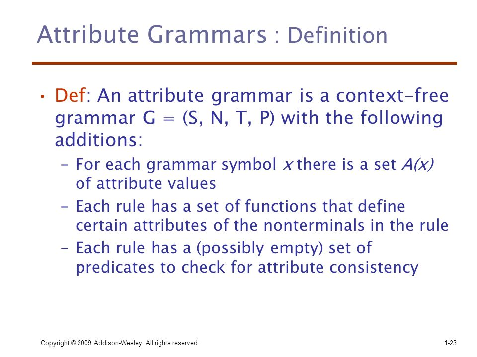 attribute grammar The subject may consist of one word or several words, but it must always have a noun in it this noun which is the most.