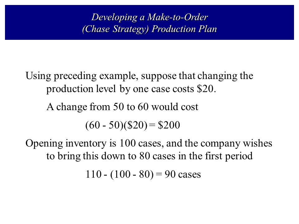 production plan level and chase strategy case Aggregate production  10 10 10 10 10 chase demand (ideal case) - change  workers level production strategy level.