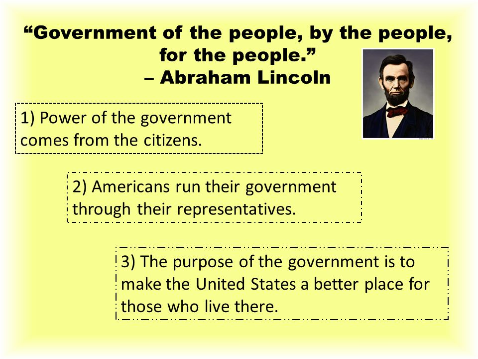 Government of the people, by the people, for the people.