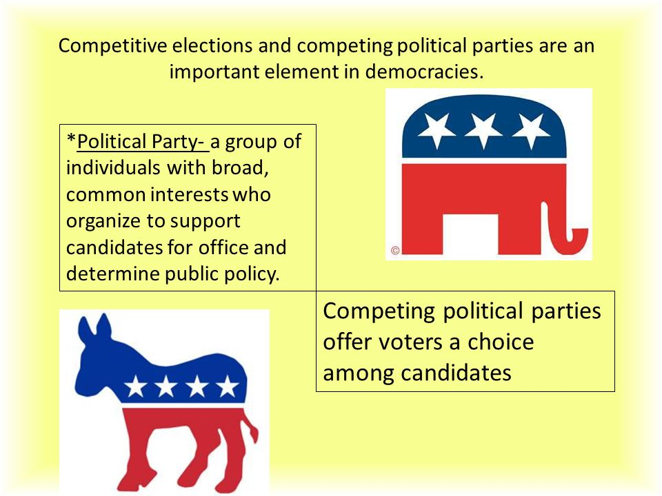 Competing political parties offer voters a choice among candidates