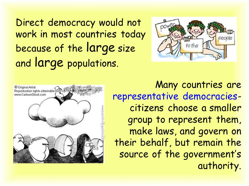 Direct democracy would not work in most countries today because of the large size and large populations.