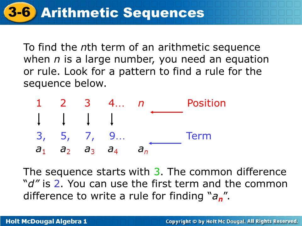 3 6 arithmetic sequences warm up lesson presentation for Table th nth
