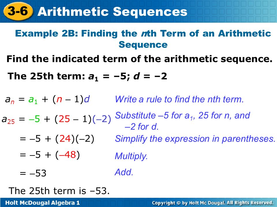 3-6 Arithmetic Sequences Warm Up Lesson Presentation Lesson Quiz