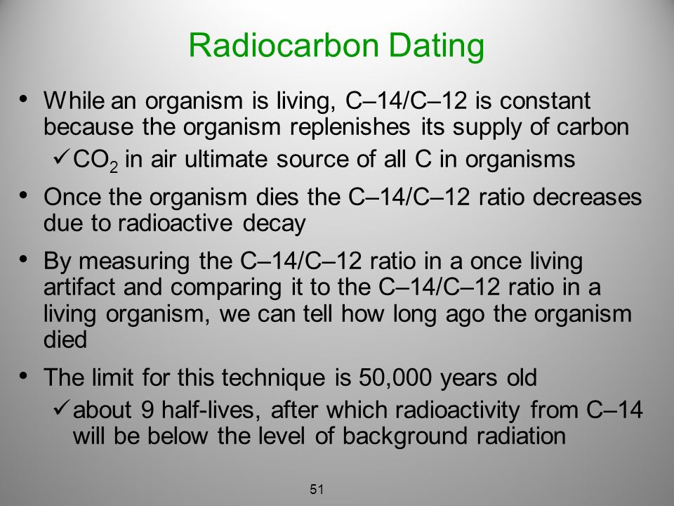 Type of dating used for once living organisms