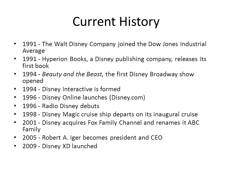 the history of the disney company The walt disney company is a diversified us entertainment conglomerate and multinational mass media company commonly known as just disney the company's headquarters are located in burbank, california at the walt disney studios.