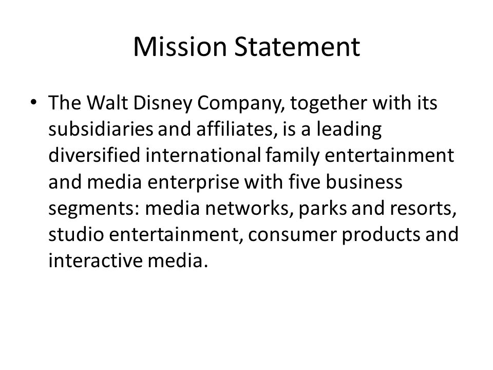 walt disney mission statement
