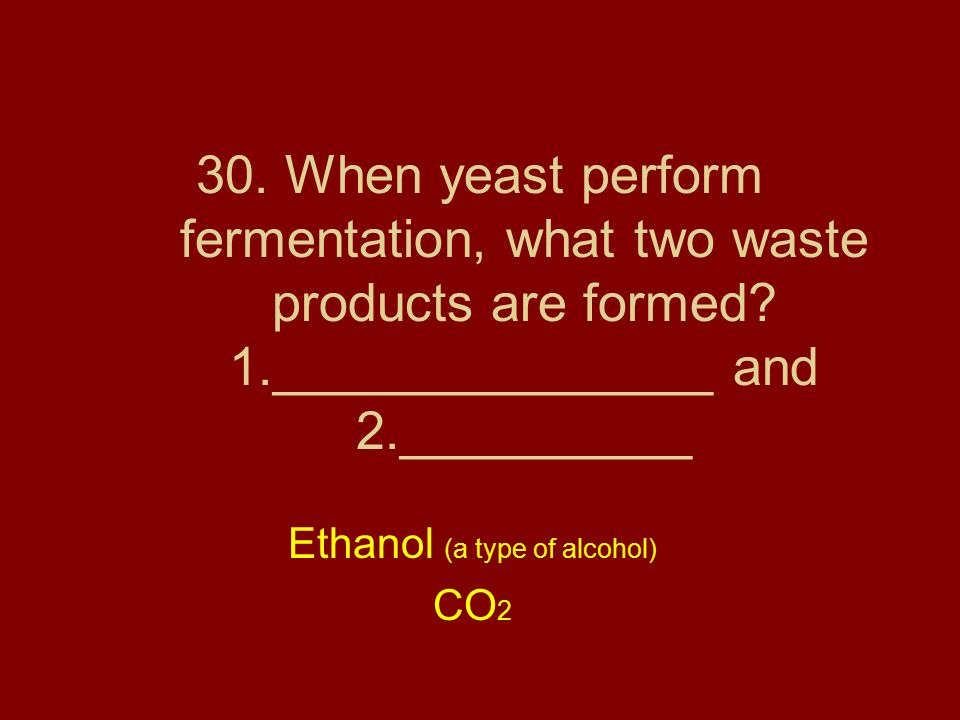 Ethanol (a type of alcohol) CO2