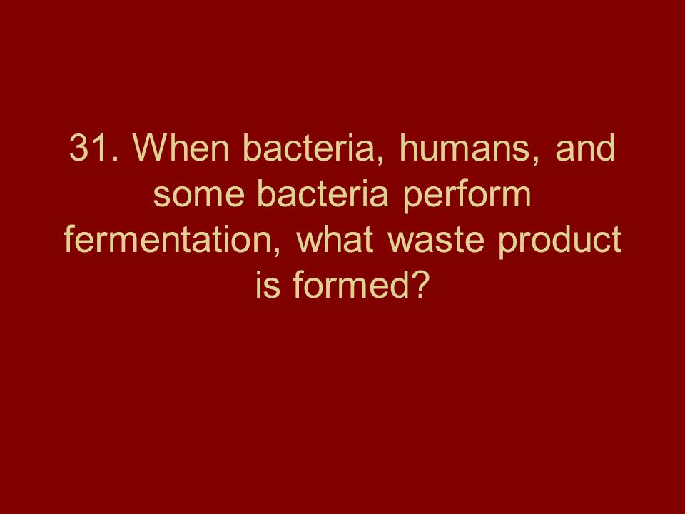 31. When bacteria, humans, and some bacteria perform fermentation, what waste product is formed