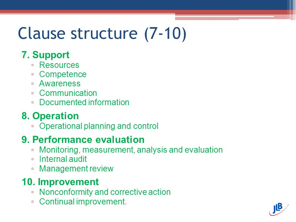 Clause structure (7-10) 7. Support 8. Operation