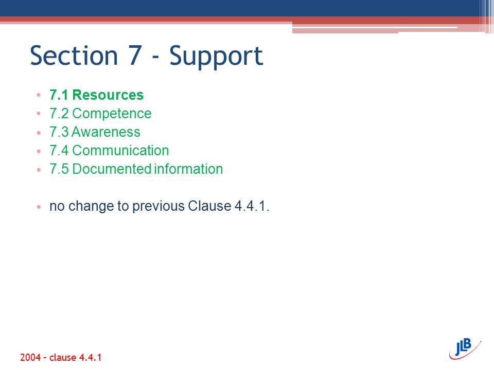 Section 7 - Support 7.1 Resources 7.2 Competence 7.3 Awareness