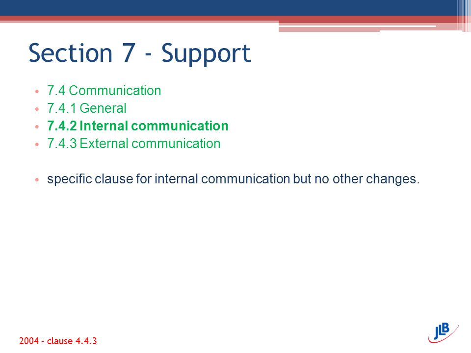 Section 7 - Support 7.4 Communication 7.4.1 General