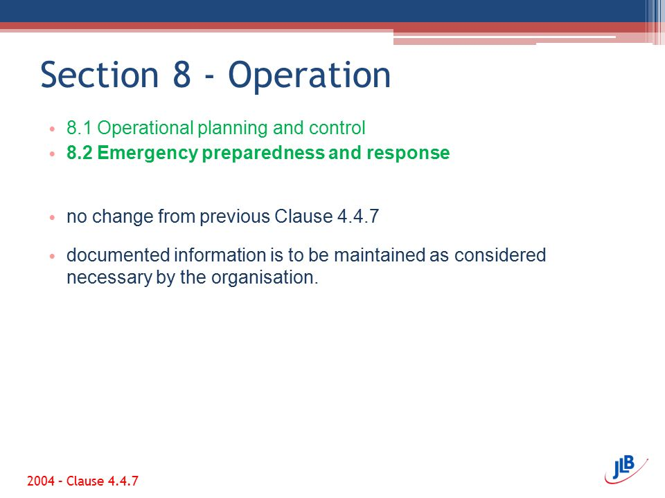 Section 8 - Operation 8.1 Operational planning and control