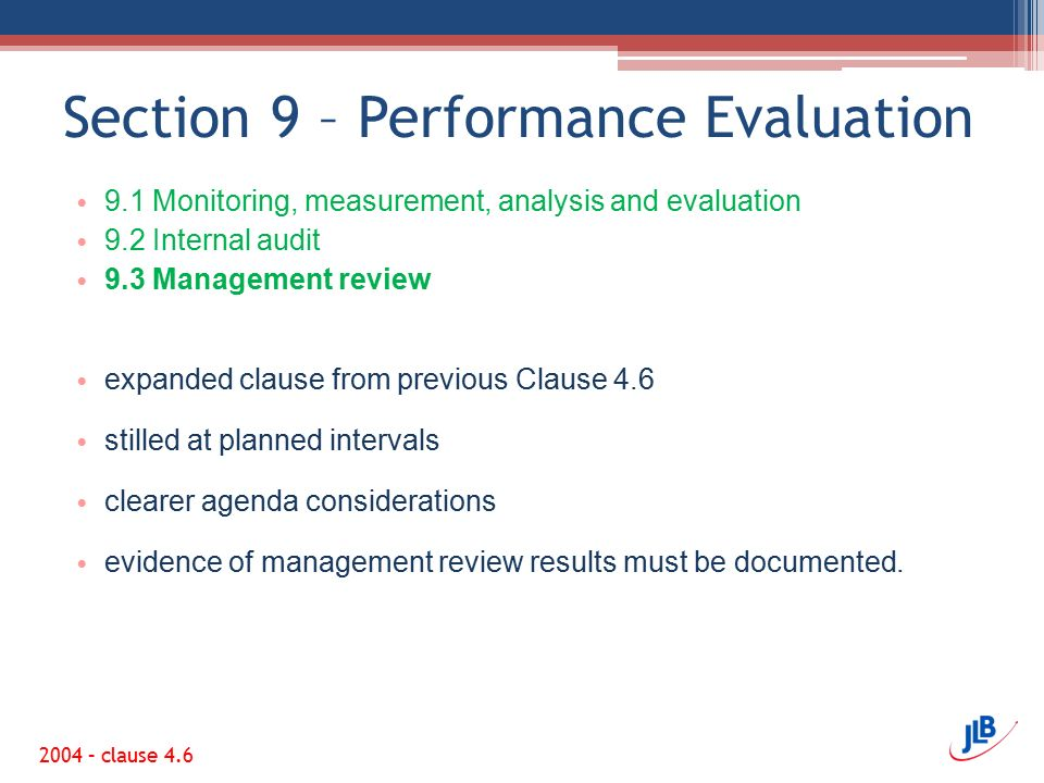 Section 9 – Performance Evaluation