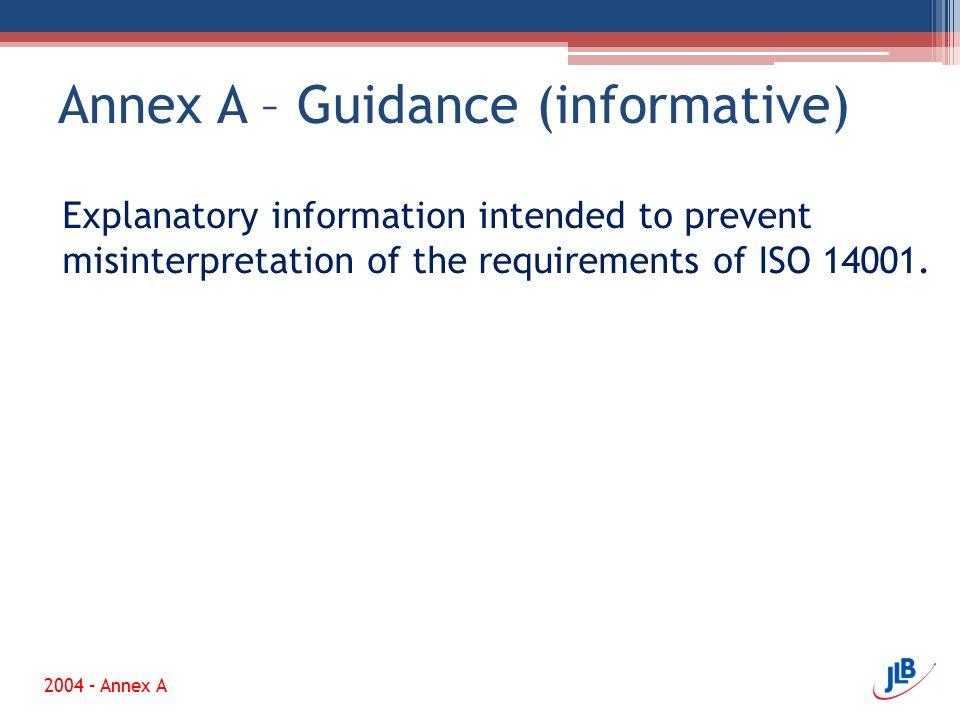 Annex A – Guidance (informative)