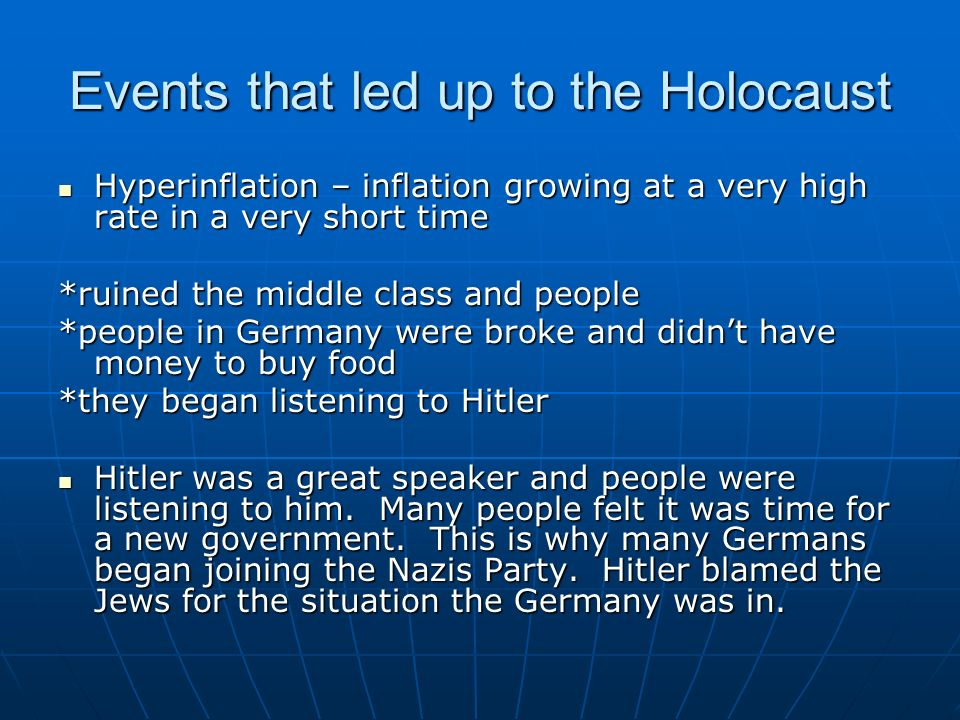 the events that led to the holocaust in germany During the holocaust it is estimated that 6 million jews were slaughtered along with, 3 million soviet prisoners of war, 3 million polish catholics, 700,000 serbians, 250,000 gypsies, sinti, and lalleri, 80,000 germans (for political reasons), 70,000 german handicapped, 12,000 homosexuals, and 2,500 jehovah's witnesses.