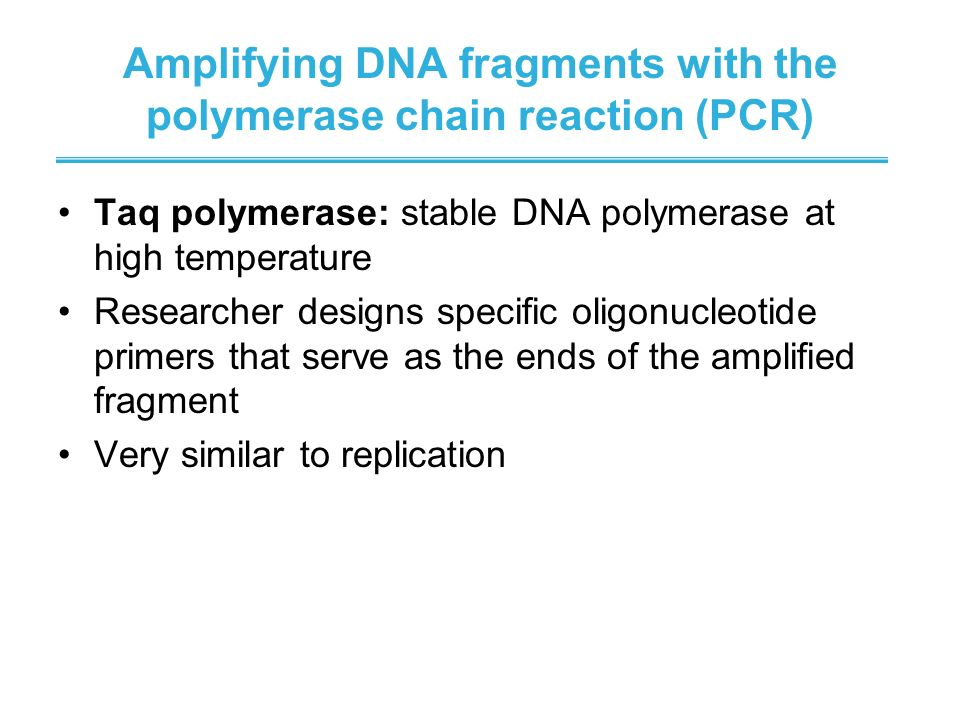 Amplifying DNA fragments with the polymerase chain reaction (PCR)