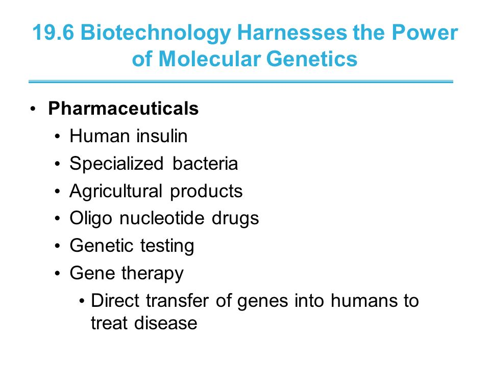 19.6 Biotechnology Harnesses the Power of Molecular Genetics