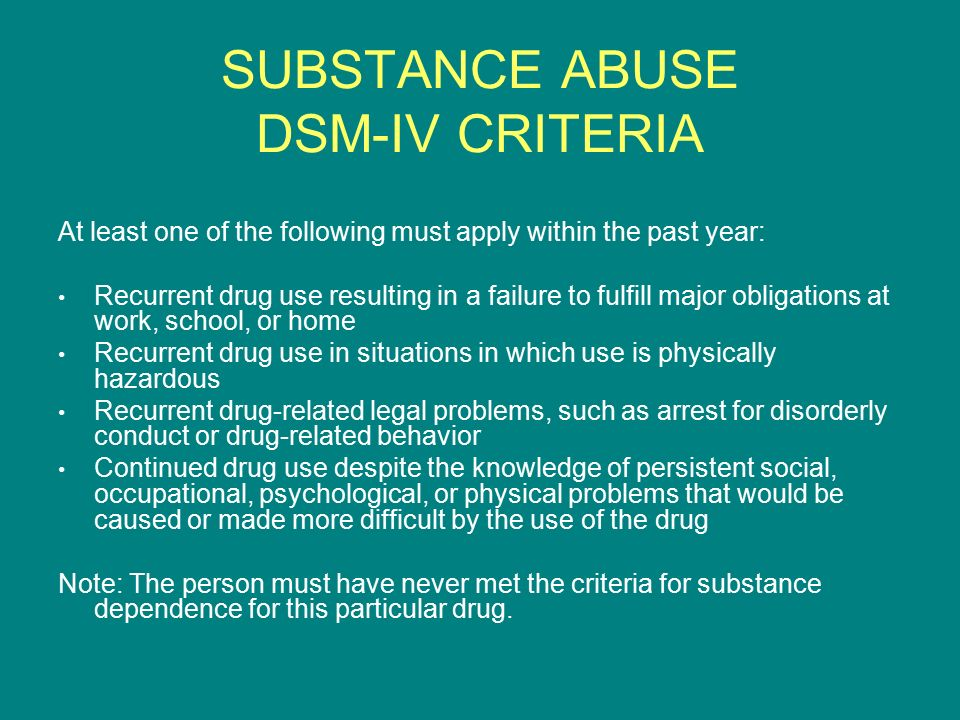 SUBSTANCE ABUSE DSM-IV CRITERIA