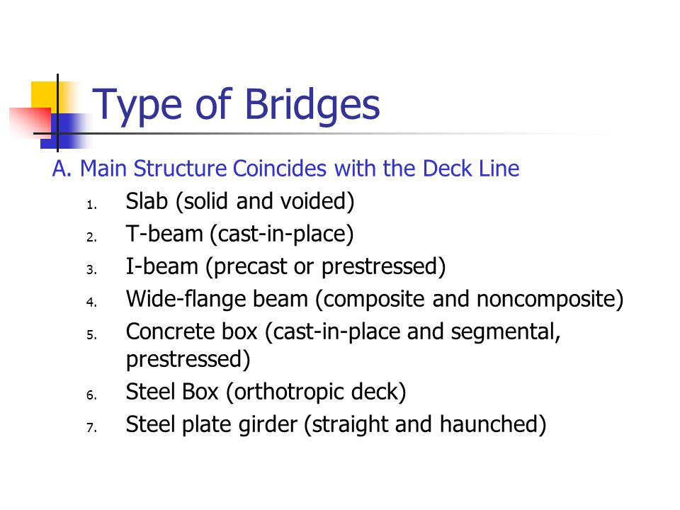 Type of Bridges A. Main Structure Coincides with the Deck Line