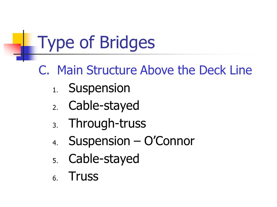 Type of Bridges C. Main Structure Above the Deck Line Suspension