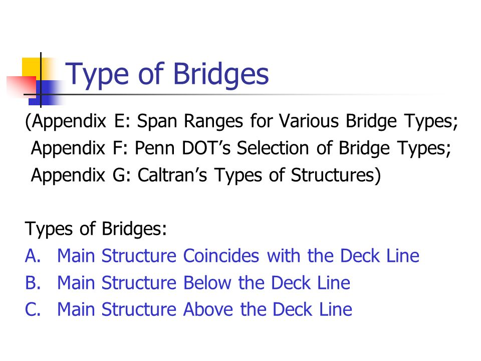 Type of Bridges (Appendix E: Span Ranges for Various Bridge Types;