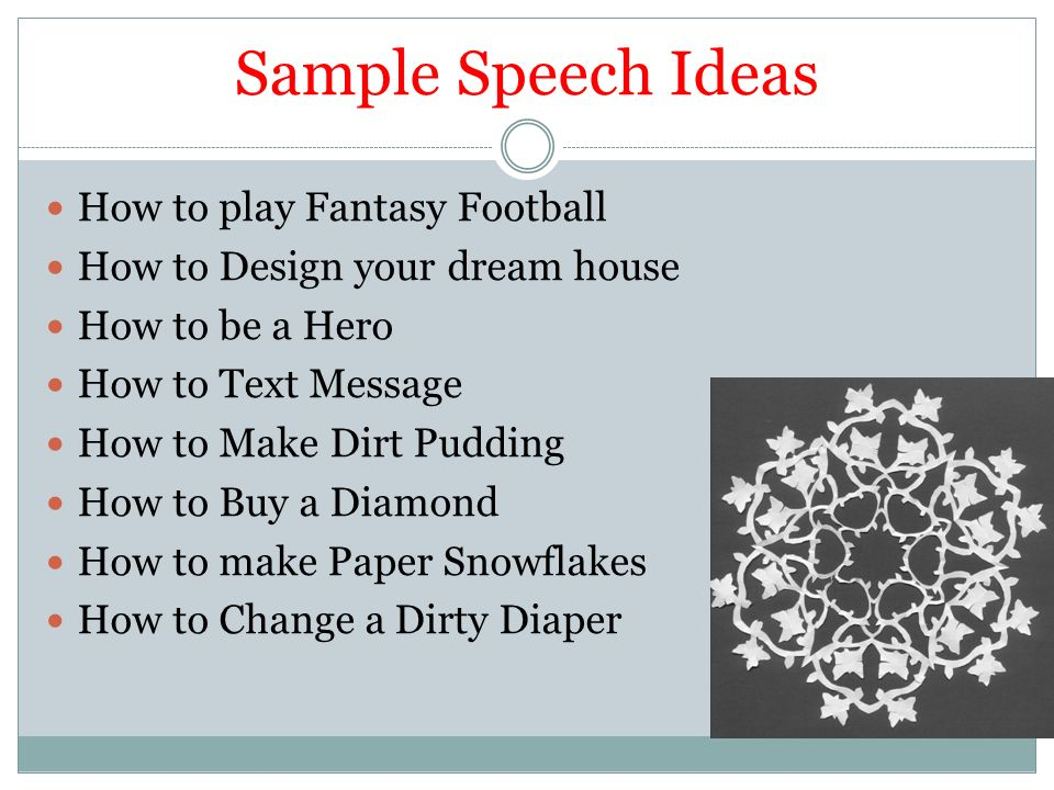 demonstration speech fudge pie A demonstration speech outline is important when you're writing your presentation, as it helps you organize your thoughts in a logical way a demonstration speech is a  how to  speech, in which the speaker demonstrates to the audience how to do a particular process or activity.