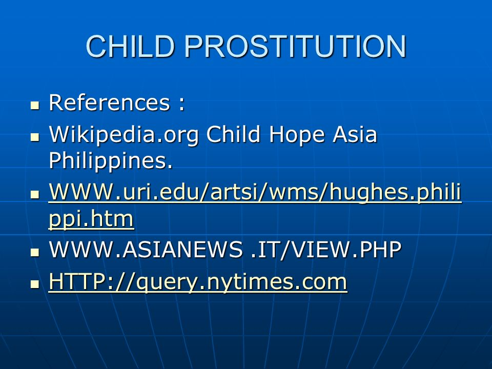 CHILD PROSTITUTION References :