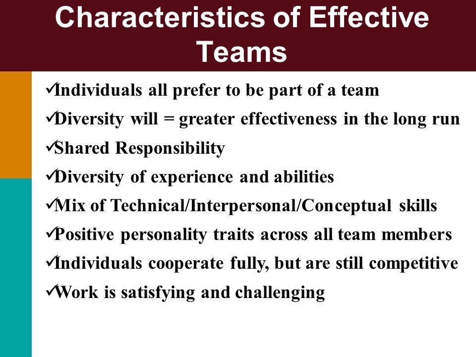 Characteristics of Effective Teams