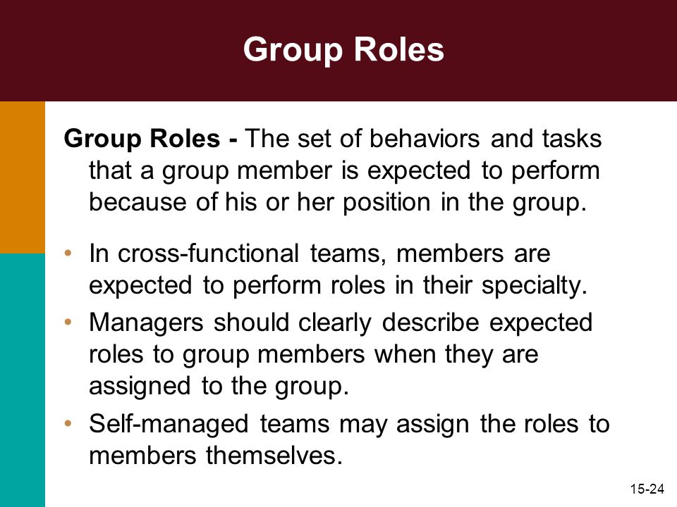 Group Roles Group Roles - The set of behaviors and tasks that a group member is expected to perform because of his or her position in the group.