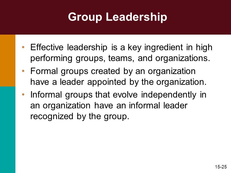 Group Leadership Effective leadership is a key ingredient in high performing groups, teams, and organizations.