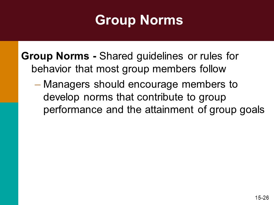 Group Norms Group Norms - Shared guidelines or rules for behavior that most group members follow.