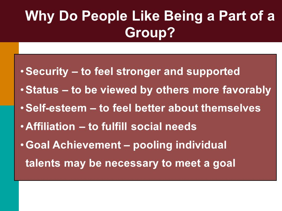 Why Do People Like Being a Part of a Group