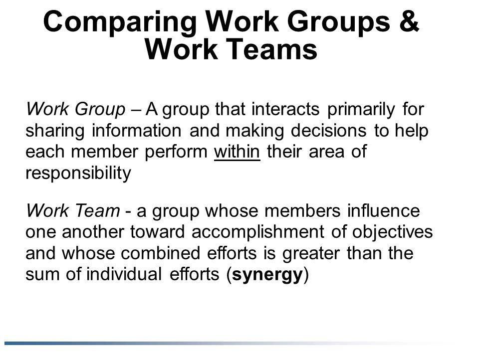 Comparing Work Groups & Work Teams