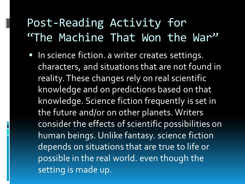 "the machine that won the war Each story is prefaced by a brief commentary from asimov i am inordinately fond  of  ""the machine that won the war"" • (1961) • short story."