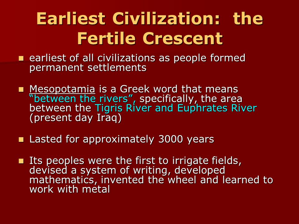 civilizations of the fertlile crescent essay The fertile crescent the fertile crescent was the first area to develop agriculture it was the first to harness the power of agriculture because of geographic luck.