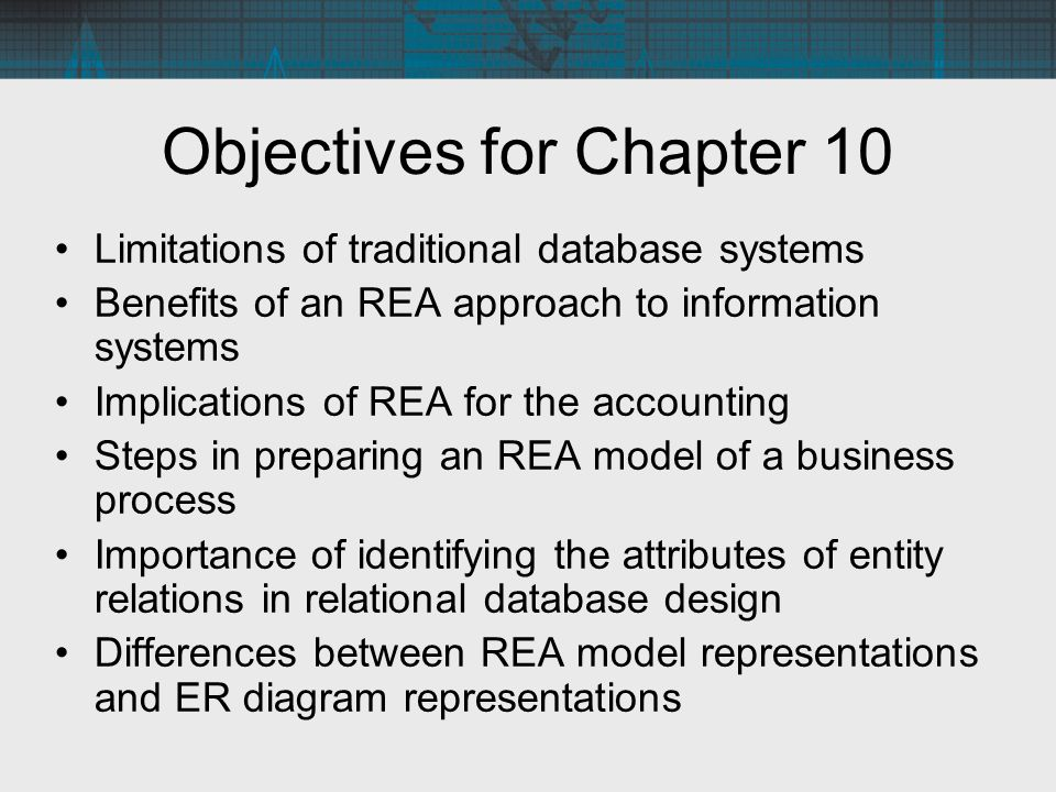 the rea approach to database Developing an rea model in the previous chapter we described the process of view modeling, in which the database designer identifies and models the set of data that individual users need to make a decision or perform a task the result of this process is an er diagram depicting the user's data model.