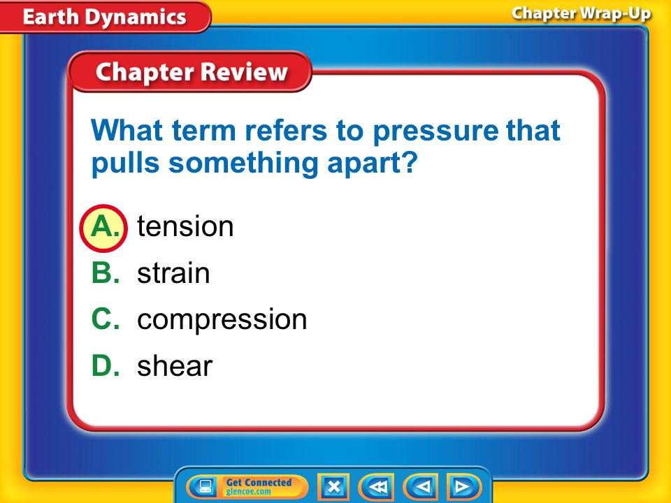 What term refers to pressure that pulls something apart