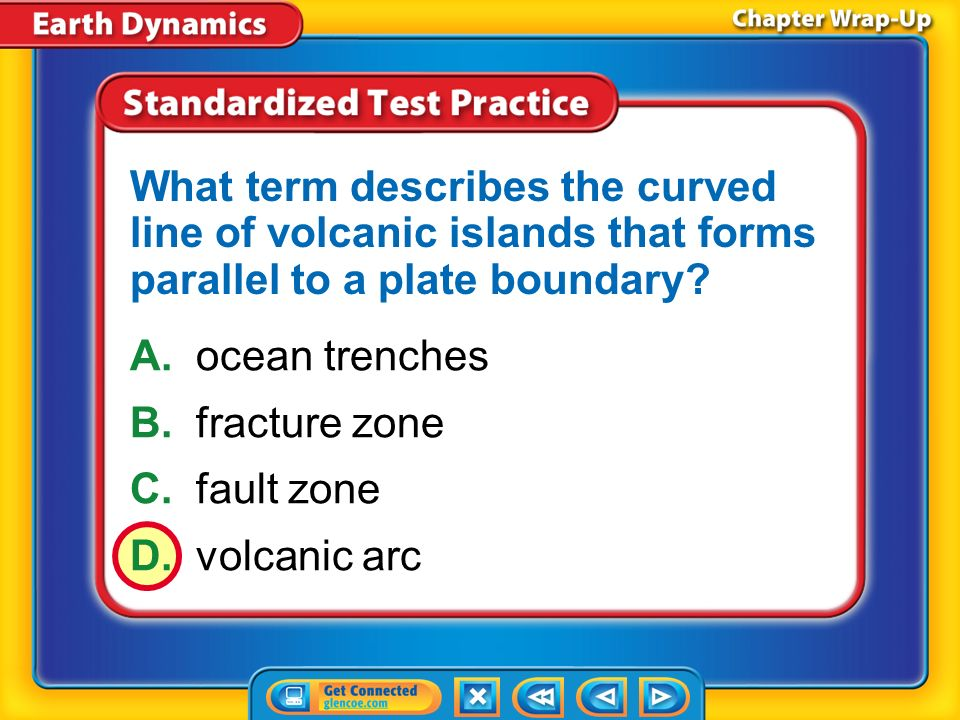 What term describes the curved line of volcanic islands that forms parallel to a plate boundary