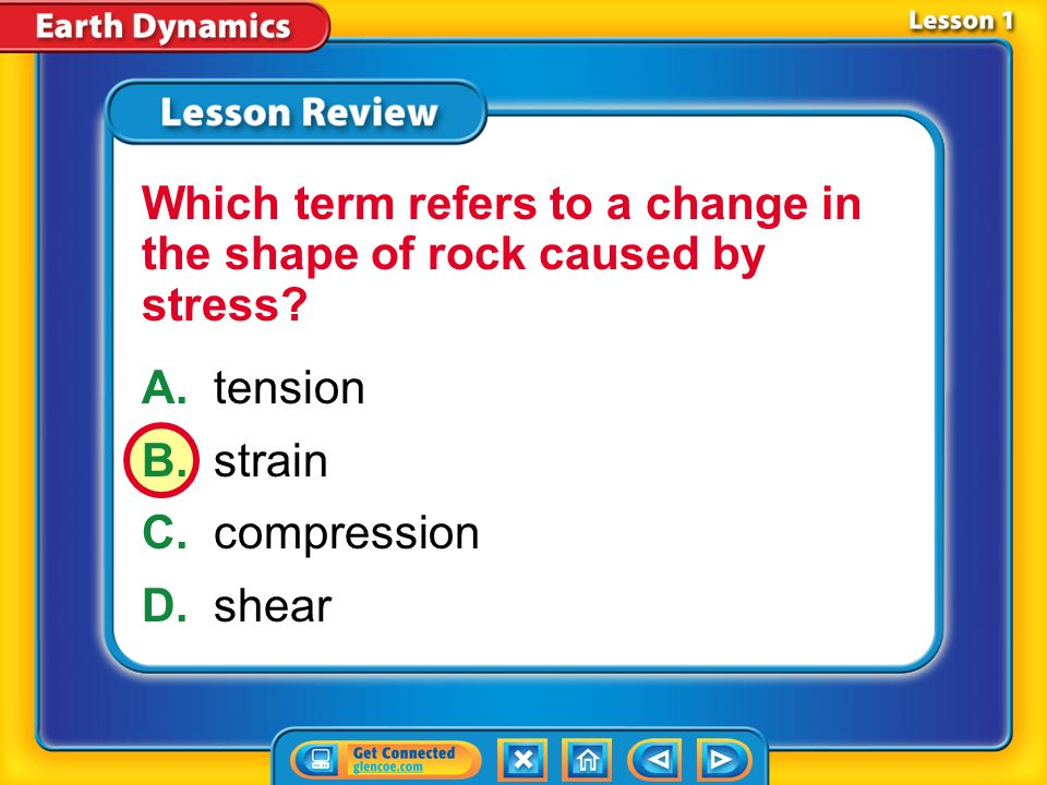 Which term refers to a change in the shape of rock caused by stress