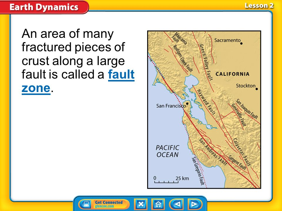 An area of many fractured pieces of crust along a large fault is called a fault zone.