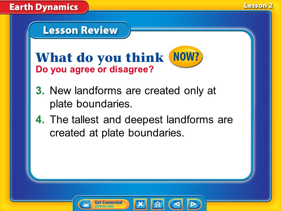 3. New landforms are created only at plate boundaries.