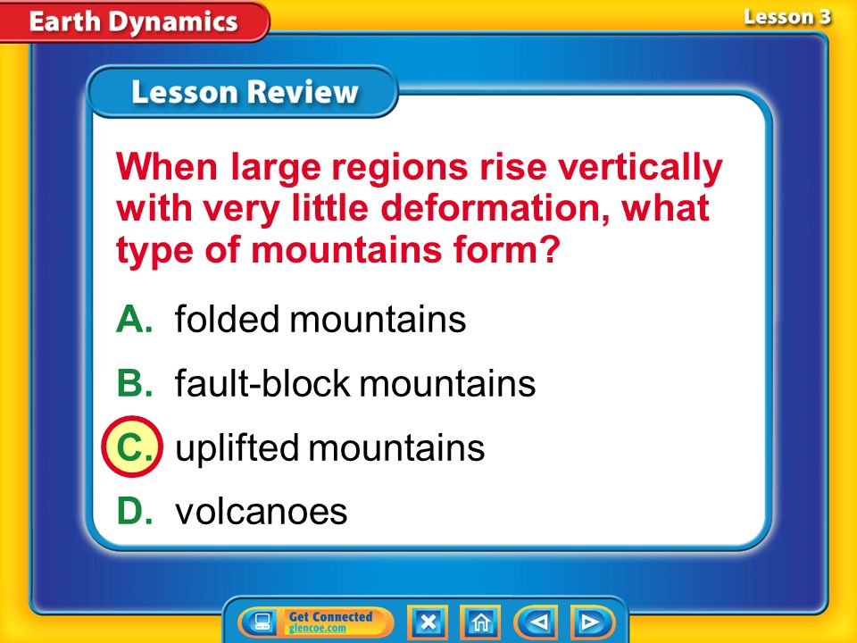 B. fault-block mountains C. uplifted mountains D. volcanoes